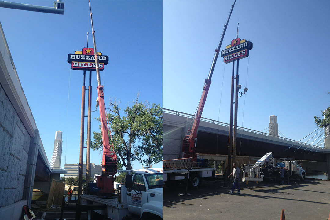 Install Buzzard Billy's Pole Sign