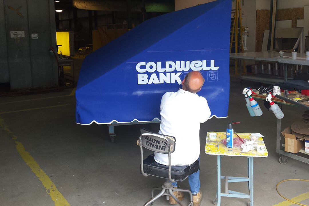 Manufacture Coldwell Awning Painted Lettering