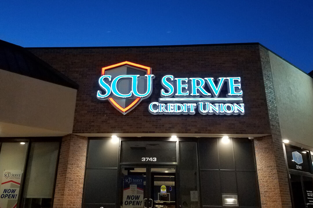 Channel Letters SCU Serve Credit Union Lighted