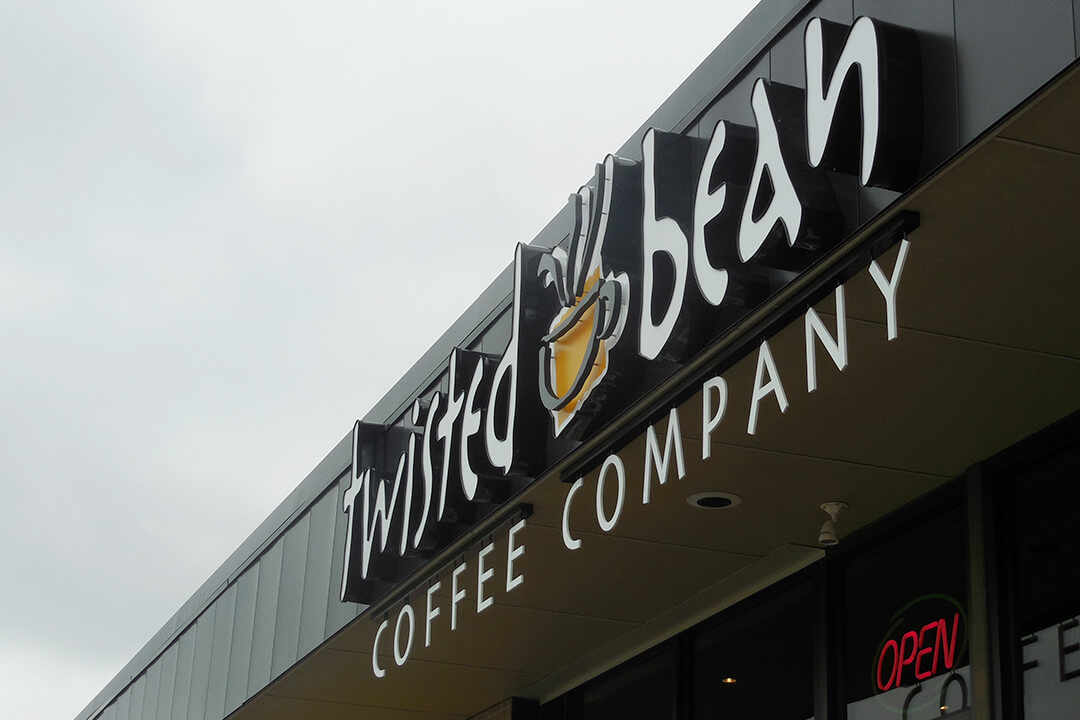 Channel Letters Twisted Bean Coffee Co