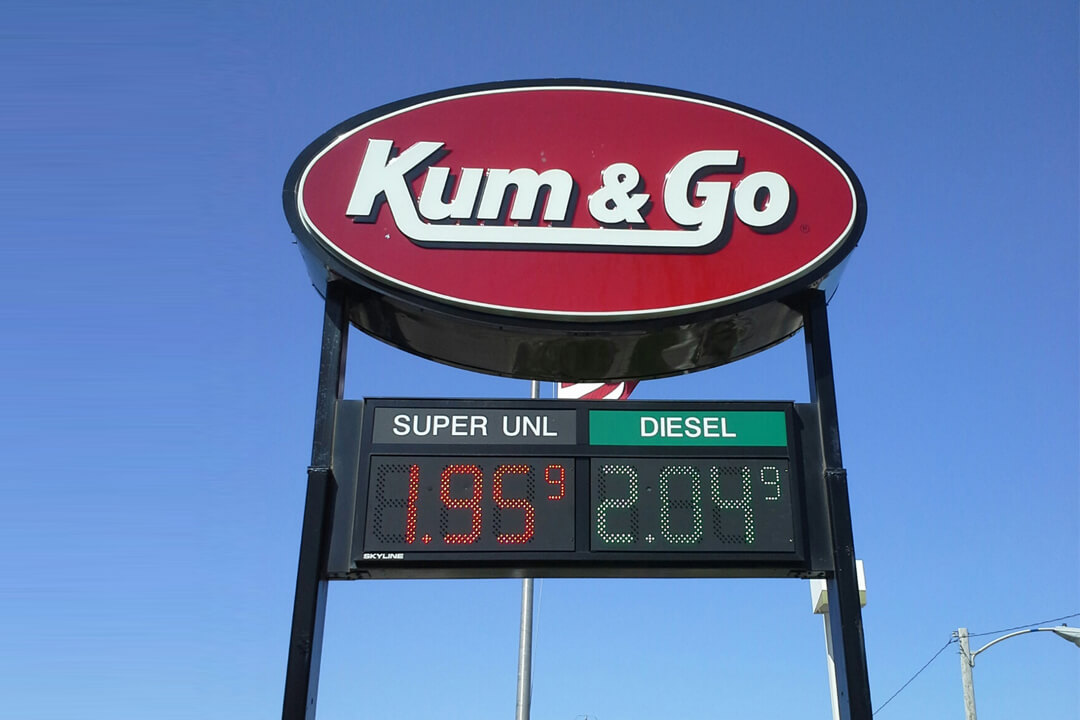 Convenience Stores Kum & Go Pole Sign